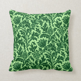 William Morris Thistle Damask, Emerald Green Throw Pillow