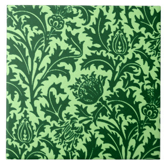 William Morris Thistle Damask, Emerald Green Tile