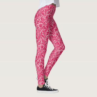 William Morris Thistle Damask, Fuchsia Pink Leggings