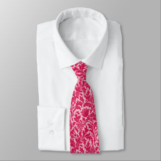 William Morris Thistle Damask, Fuchsia Pink Tie