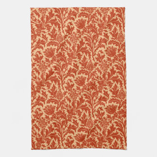 William Morris Thistle Damask, Mandarin Orange Kitchen Towel