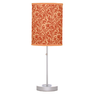 William Morris Thistle Damask, Mandarin Orange Table Lamps