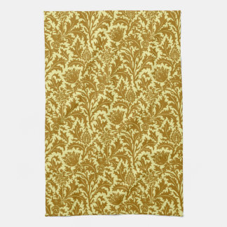 William Morris Thistle Damask, Mustard Gold Kitchen Towel