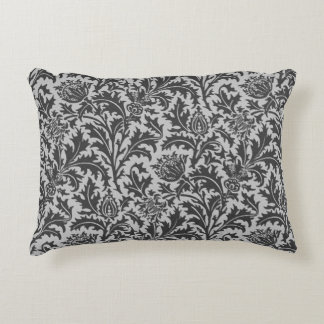 William Morris Thistle Damask, Silver Gray / Grey Accent Pillow