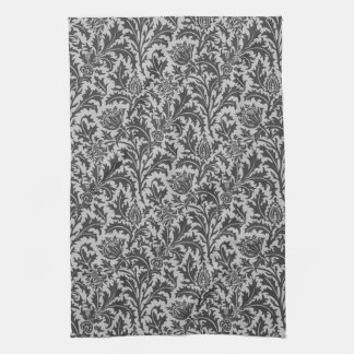 William Morris Thistle Damask, Silver Gray / Grey Kitchen Towel