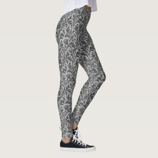William Morris Thistle Damask, Silver Gray / Grey Leggings