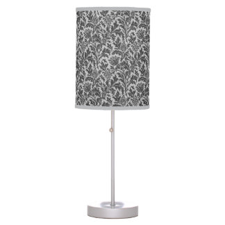 William Morris Thistle Damask, Silver Gray / Grey Table Lamp