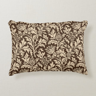 William Morris Thistle Damask, Taupe Tan & Beige Accent Pillow