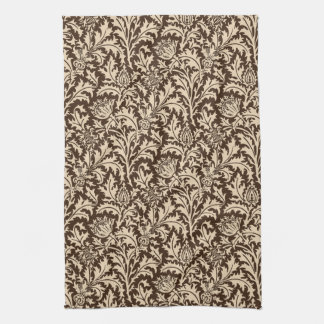 William Morris Thistle Damask, Taupe Tan & Beige Kitchen Towel