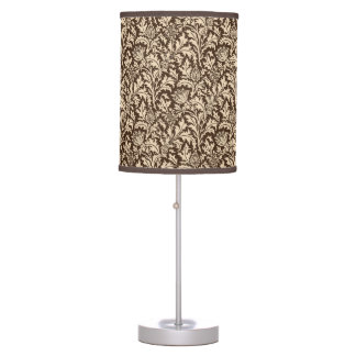 William Morris Thistle Damask, Taupe Tan & Beige Table Lamp