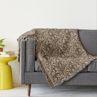 William Morris Thistle Damask, Taupe Tan & Beige Throw Blanket