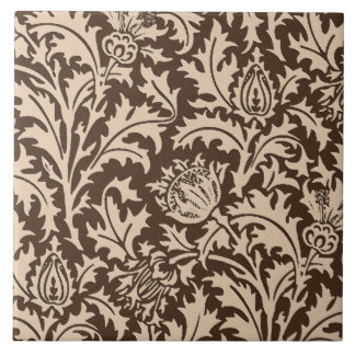 William Morris Thistle Damask, Taupe Tan & Beige Tile