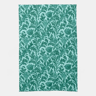 William Morris Thistle Damask, Turquoise and Aqua Kitchen Towel