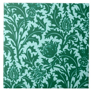 William Morris Thistle Damask, Turquoise and Aqua Tile
