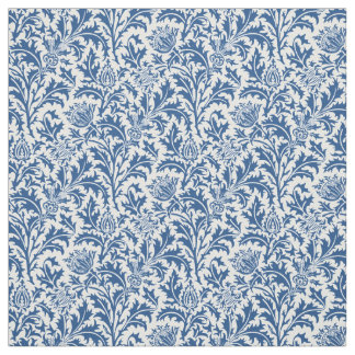 William Morris Thistle Pattern Blue and White Fabric