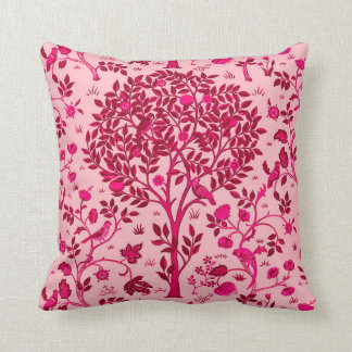 William Morris Tree of Life, Burgundy and Pink Throw Pillow