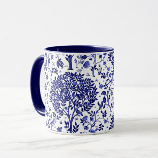 William Morris Tree of Life, Cobalt Blue and White Mug