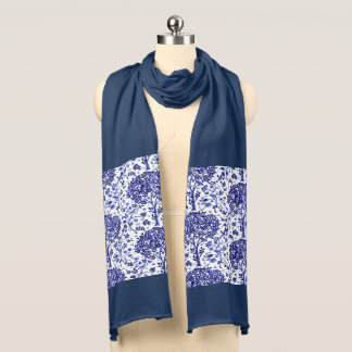 William Morris Tree of Life, Cobalt Blue and White Scarf