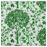 William Morris Tree of Life, Emerald Green & White Fabric