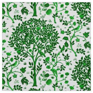 William Morris Tree of Life, Emerald Green & White Fabric