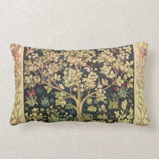 William Morris Tree Of Life Floral Vintage Art Lumbar Pillow
