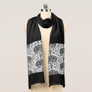 William Morris Tree of Life Pattern, Black & White Scarf
