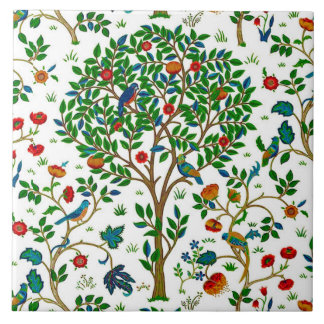 William Morris Tree of Life Pattern, Green & Multi Tile