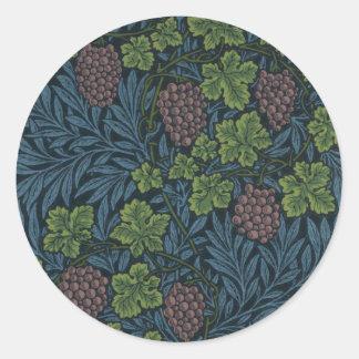 William Morris Vine Wallpaper Design Classic Round Sticker