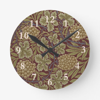 William Morris Vine Wallpaper Pattern Vintage Round Clock