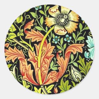 William Morris Wallpaper Round Sticker