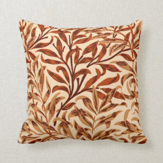 William Morris Willow Bough, Brown and Beige Throw Pillow