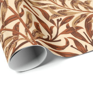 William Morris Willow Bough, Brown and Beige Wrapping Paper