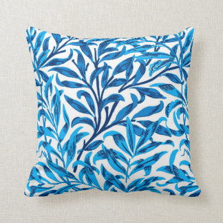 William Morris Willow Bough, Cobalt Blue & White Throw Pillow