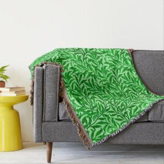 William Morris Willow Bough, Emerald Green Throw Blanket