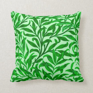 William Morris Willow Bough, Emerald Green Throw Pillow