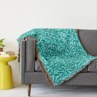 William Morris Willow Bough, Turquoise and Aqua Throw Blanket