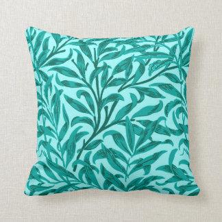 William Morris Willow Bough, Turquoise and Aqua Throw Pillow