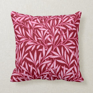 William Morris Willow Pattern, Burgundy & Pink Throw Pillow