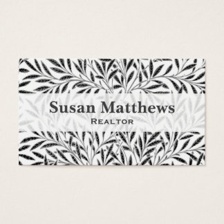 William Morris Willow Pattern, Gray / Grey & White Business Card