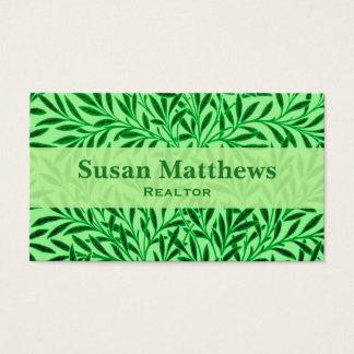 William Morris Willow Pattern, Light Jade Green Business Card