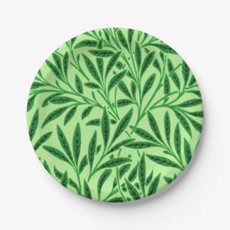 William Morris Willow Pattern, Light Jade Green Paper Plate