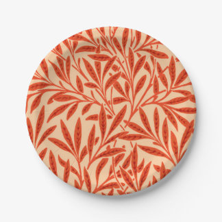 William Morris Willow Pattern, Mandarin Orange Paper Plate