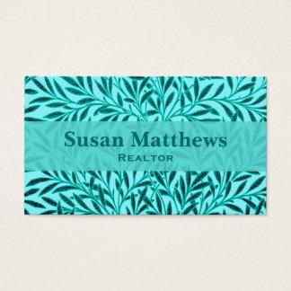 William Morris Willow Pattern, Turquoise & Aqua Business Card