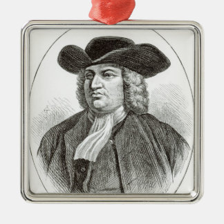 William Penn  engraved by Josiah Wood Whymper Silver-Colored Square Ornament