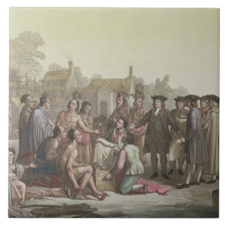 William Penn negotiating the treaty leading to the Ceramic Tiles