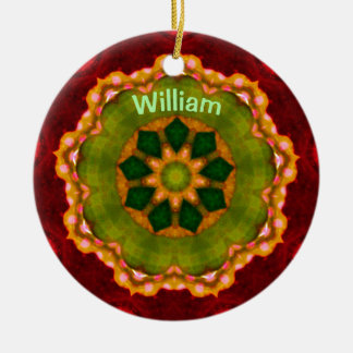 WILLIAM ~ Personalized Christmas Flower Fractal ~ Ceramic Ornament