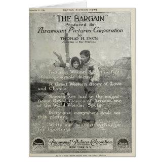 William S Hart 1914 silent film exhibitor ad photo Card