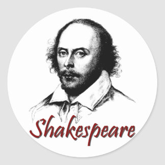 William Shakespeare Etching Classic Round Sticker