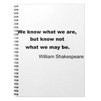 William Shakespeare Inspiring Quote Spiral Note Books