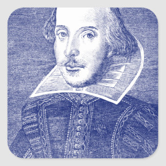 William Shakespeare Portrait from First Folio Square Sticker